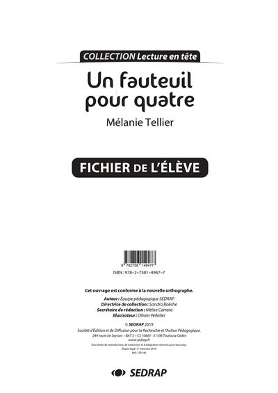 Un fauteuil pour quatre, Mélanie Tellier : fichier de l'élève