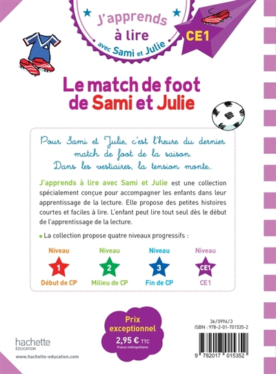 match de foot de Sami et Julie (Le) : J'apprends à lire avec Sami et Julie ; niveau CE1 | Audrain, Loïc. Auteur