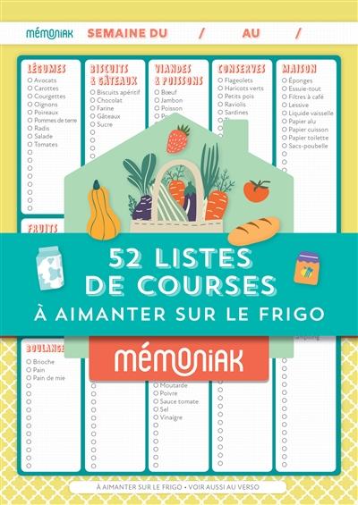 Bloc de 52 listes de courses à aimanter sur le frigo