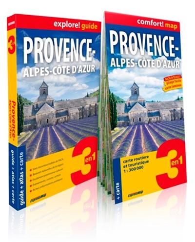 Provence-Alpes-Cote d'Azur : 3 en 1 : guide + atlas + carte / Magdalena Wolak, Piotr Jablonski | Wolak, Magdalena. Auteur