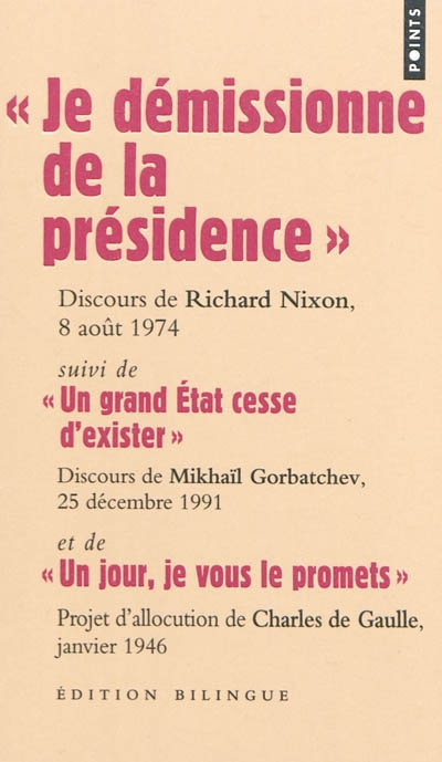 Je démissionne de la présidence : discours de Richard Nixon, 8 août 1974. .