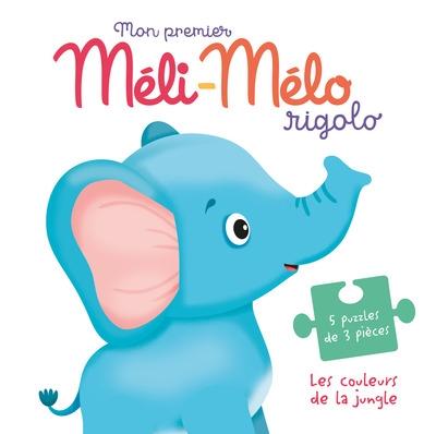 Les couleurs de la jungle : mon premier méli-mélo rigolo : 5 puzzles de 3 pièces