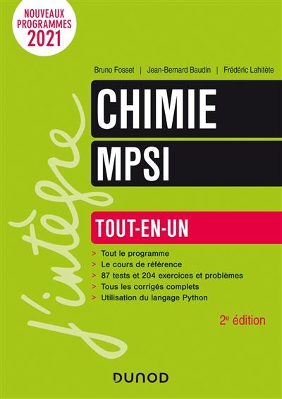 Chimie MPSI : tout-en-un : nouveaux programmes 2021