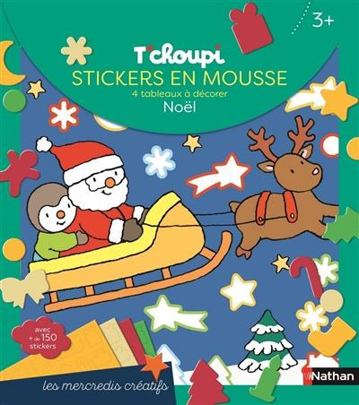 T'choupi : stickers en mousse, 4 tableaux à décorer : Noël