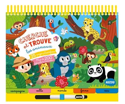 Cherche et trouve les animaux : 25 pages plastifiées, plus de 200 détails à trouver !